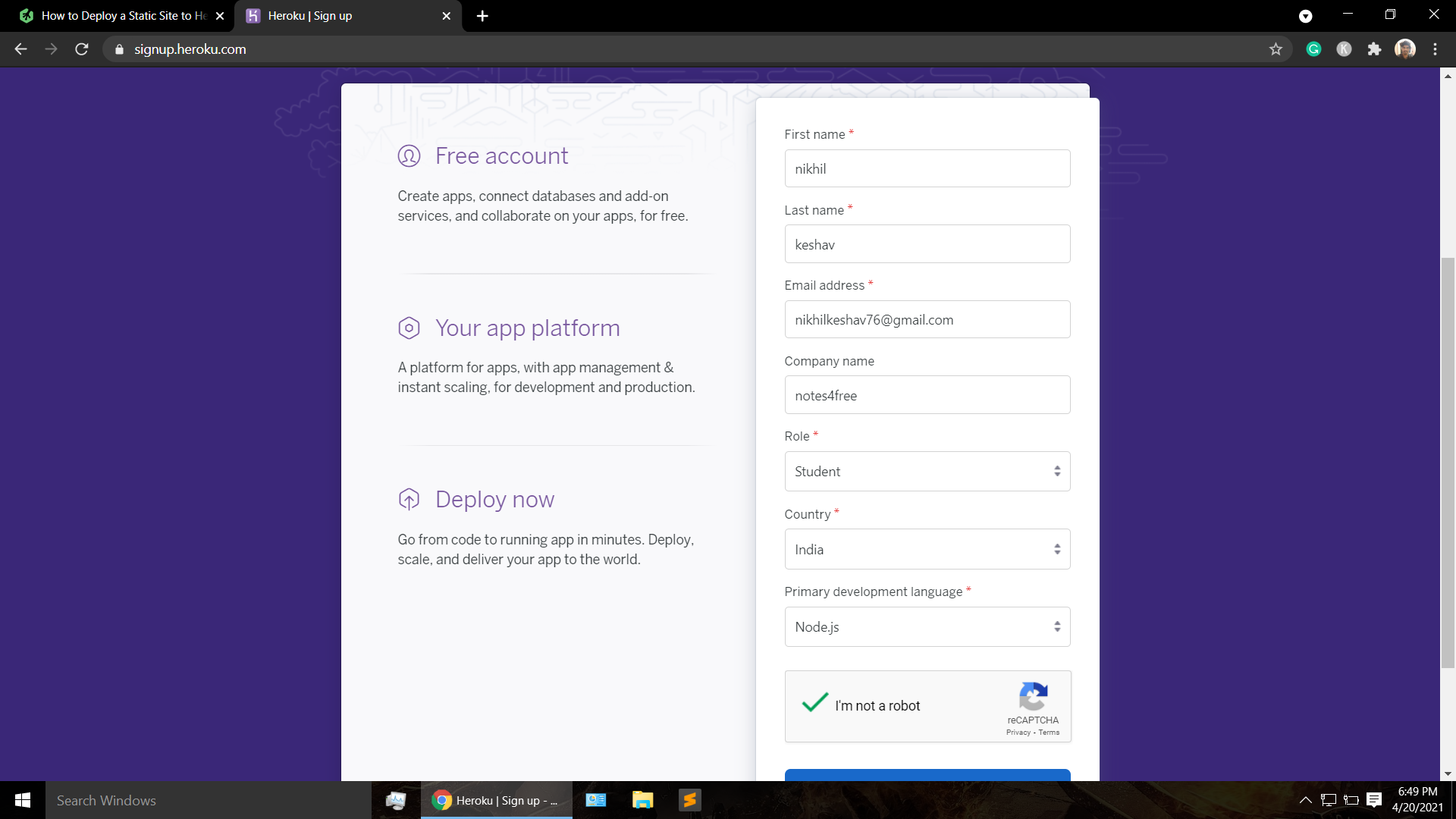 Sign up page in heroku website to host