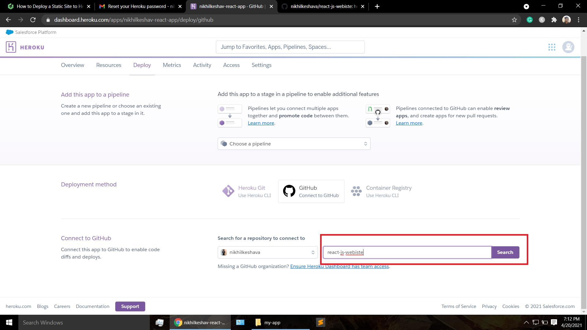 search repository in heroku to host